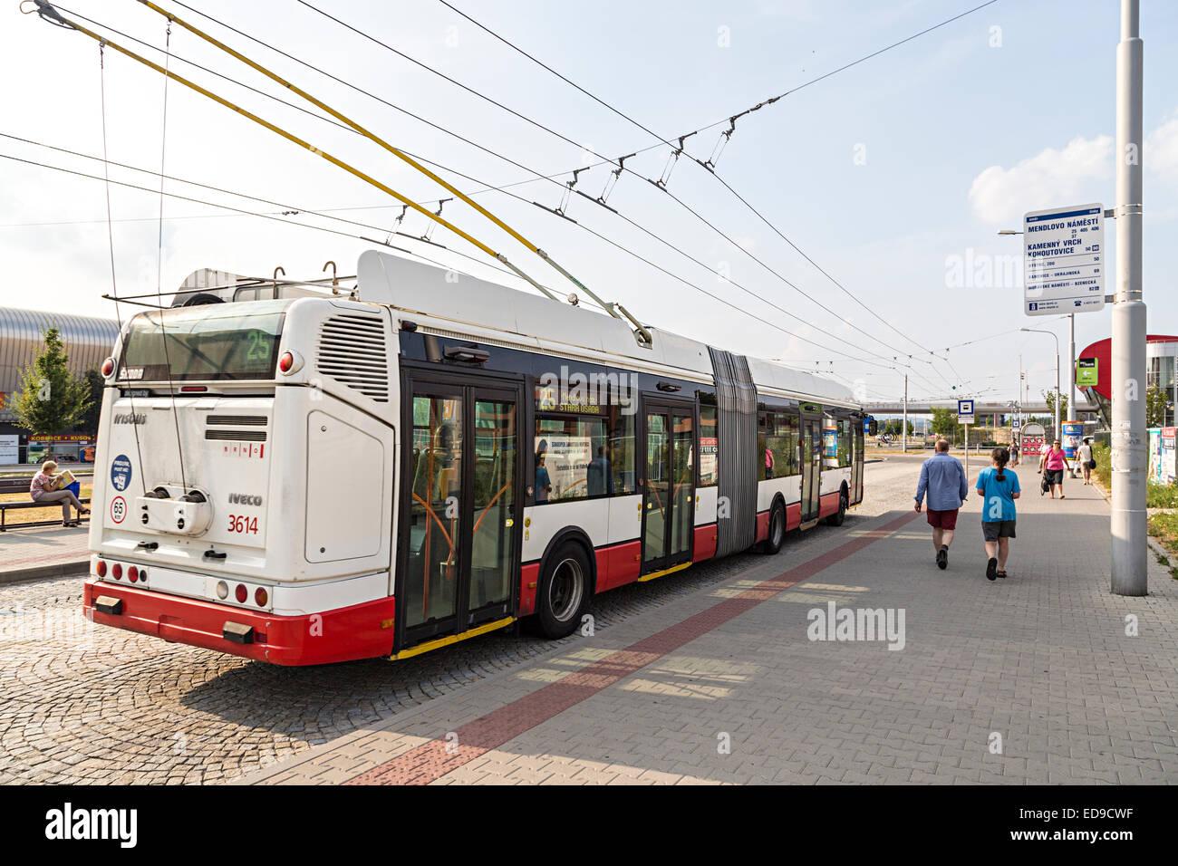 Public transport bus at bus stop, Brno, Czech Republic - Stock Image