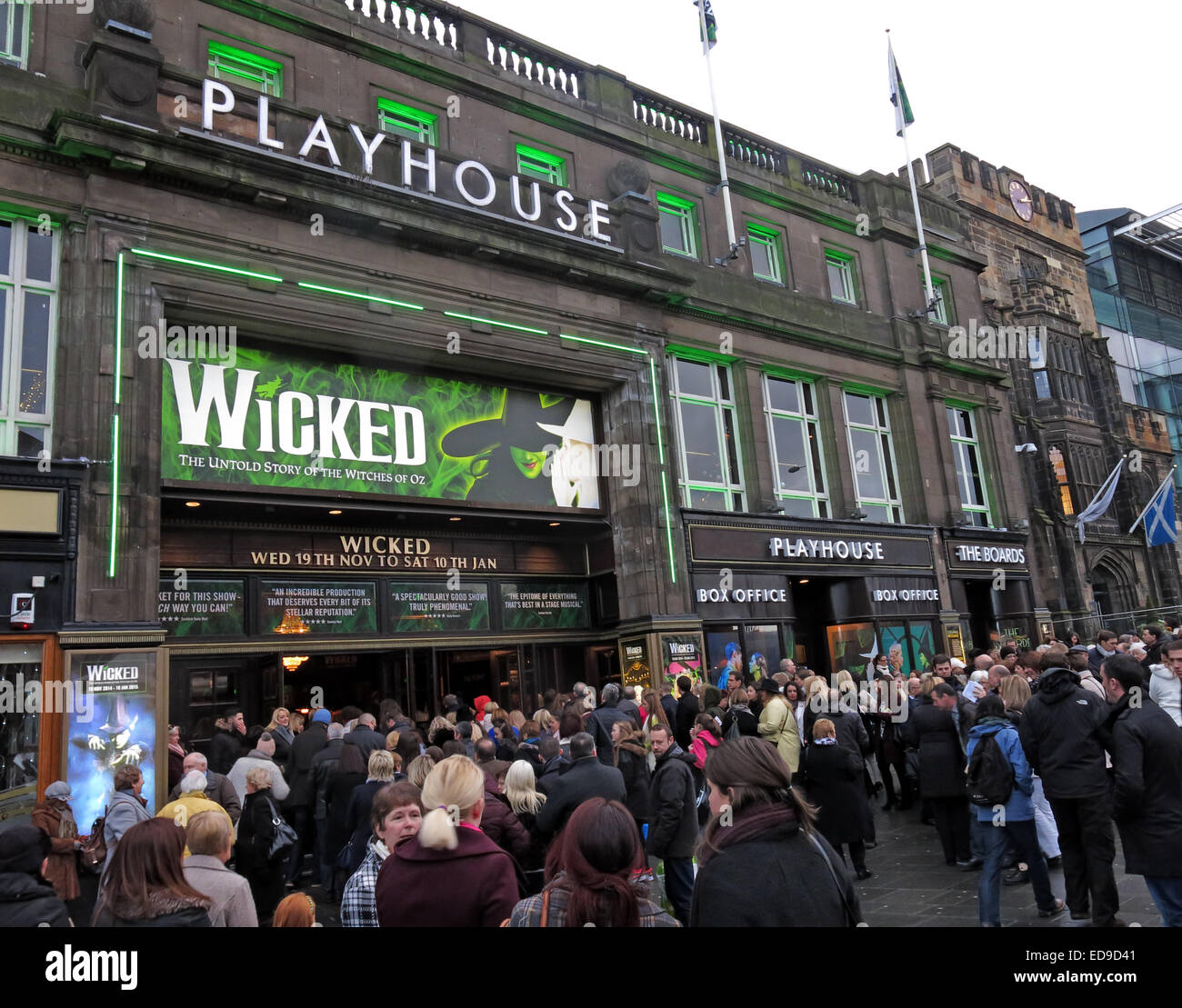 Scenes outside The Edinburgh Playhouse Theatre for the production of Wicked, Scotland, UK - Stock Image