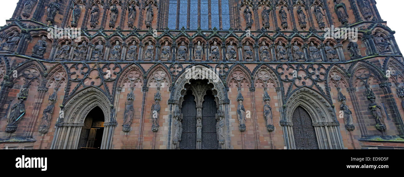Lichfield Cathedral, Staffordshire England UK at dusk Stock Photo