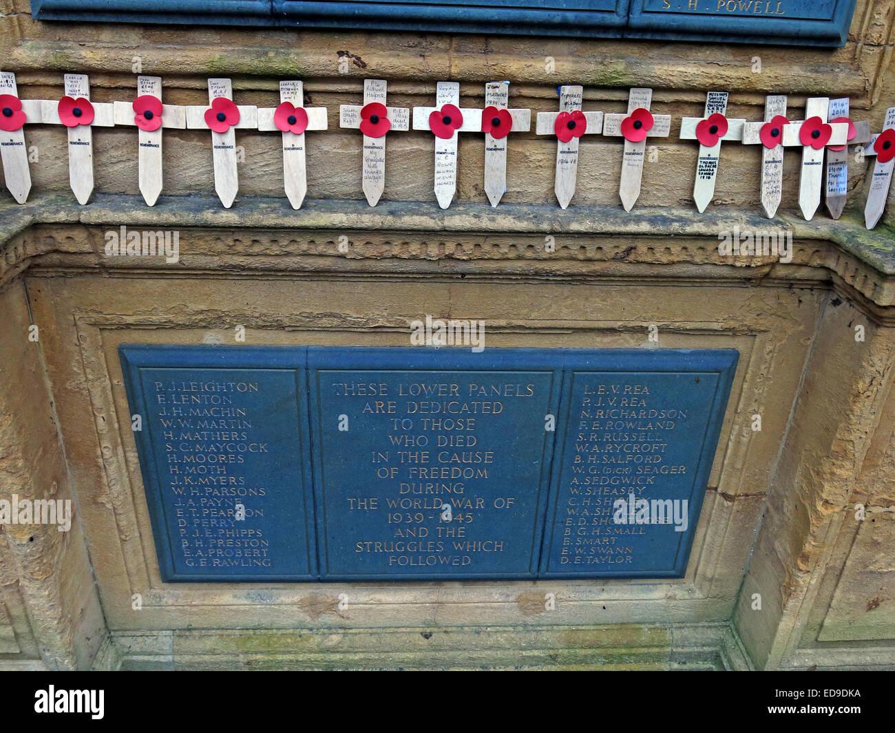 Lichfield Cenotaph war Memorial, names of the war dead, Staffordshire, England, UK - Stock Image