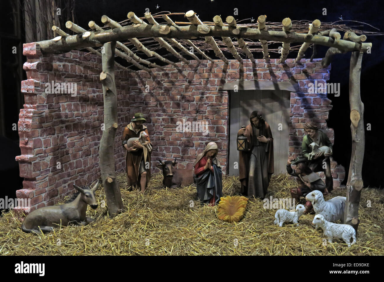 Manger and Christmas nativity scene at Lichfield cathedral Staffordshire, England UK - Stock Image