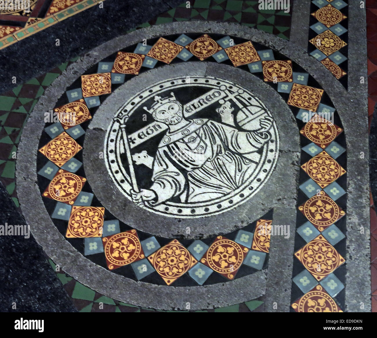 Tiles on floor at Lichfield cathedral, Staffordshire, England UK WS13 7LD leading to the high altar - Stock Image