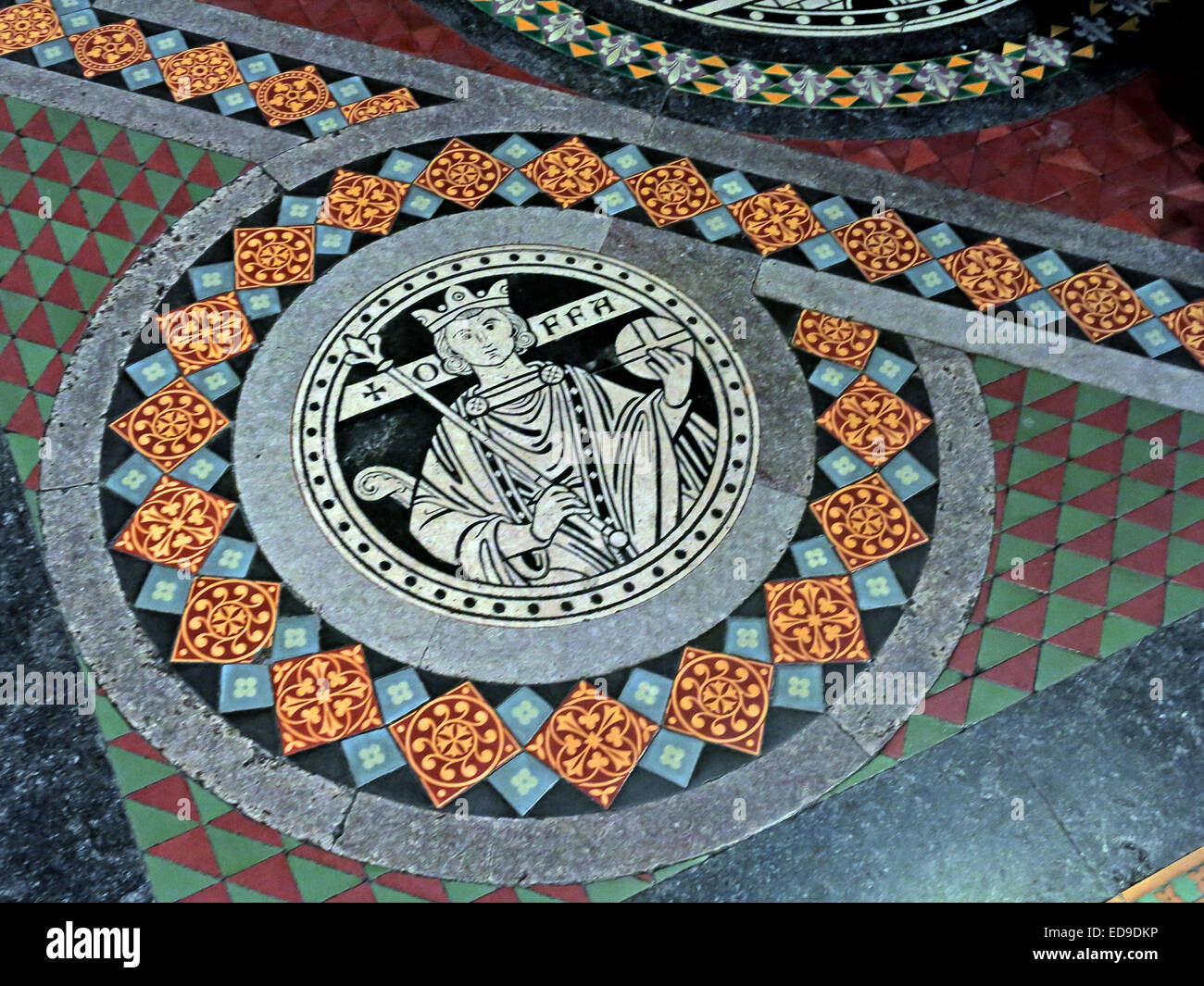 Tiles on floor at Lichfield cathedral, Staffordshire, England UK WS13 7LD leading to the high altar - Offa King - Stock Image