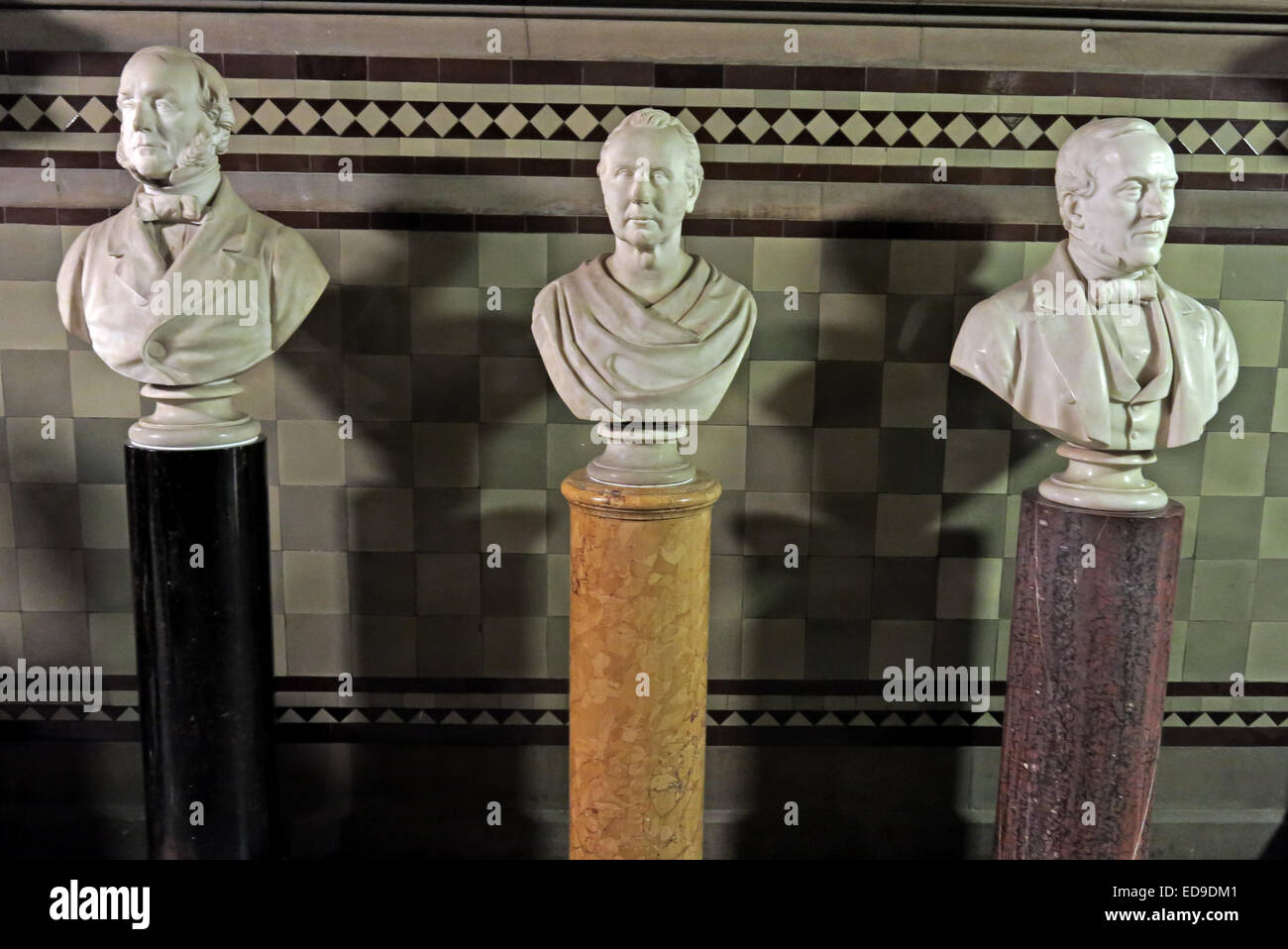 Heads of statues in Manchester Town hall, Albert Square, England, UK - Stock Image