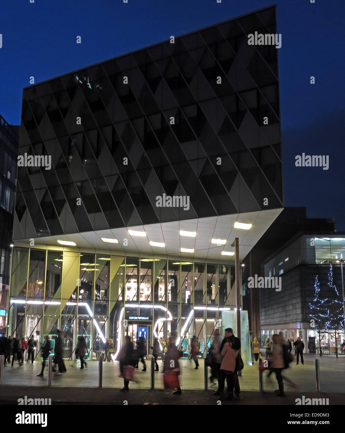Georgio Armani Manchester, Deansgate, England, UK at dusk - Stock Image