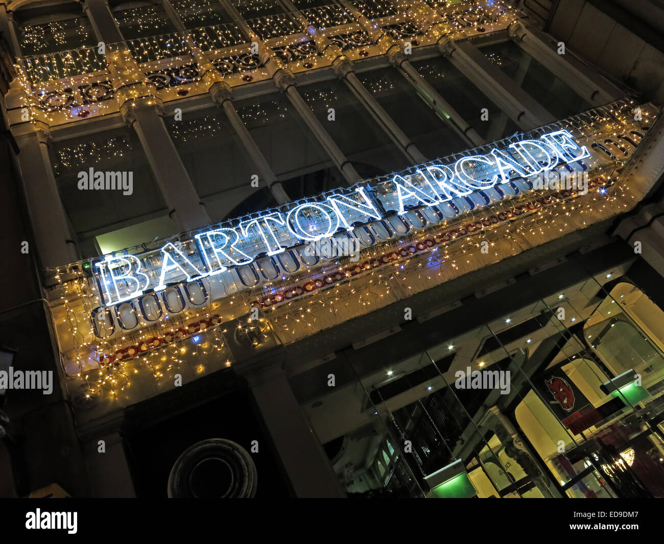 Barton Victorian Shopping Arcade, Manchester at Xmas at night, with lights, England, UK - Stock Image