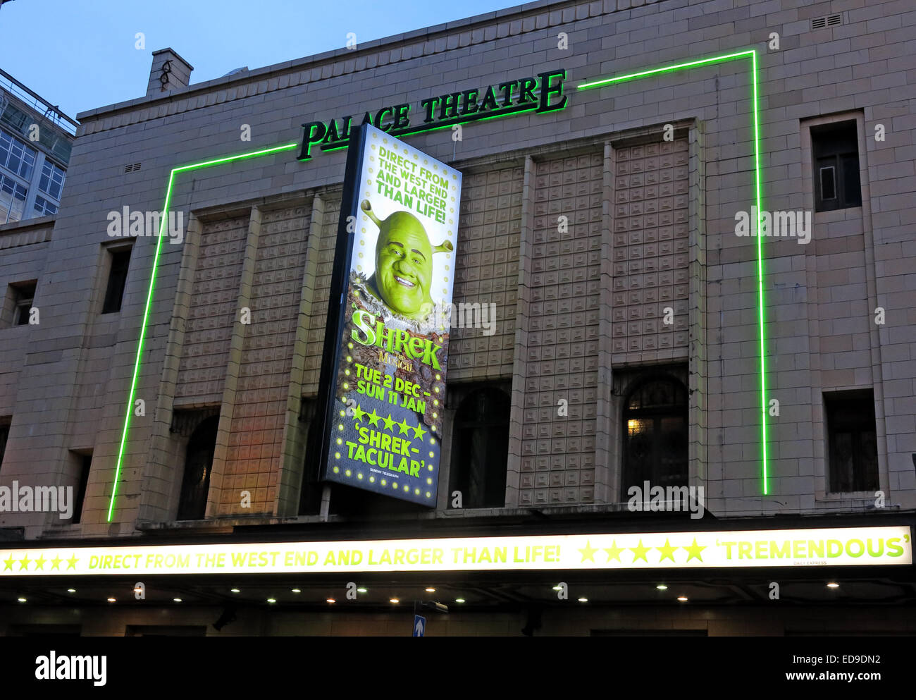 Shrek at The palace theatre Oxford Rd Manchester at dusk - Stock Image