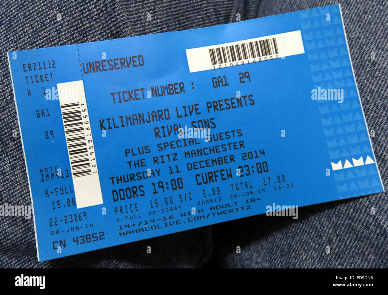 Rival sons blue gig ticket Manchester Ritz 2014, England, UK - Stock Image