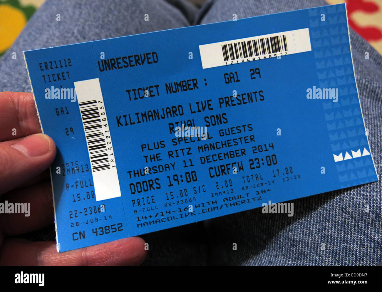Rival sons blue gig ticket Manchester Ritz 2014, England, UK held in a hand - Stock Image