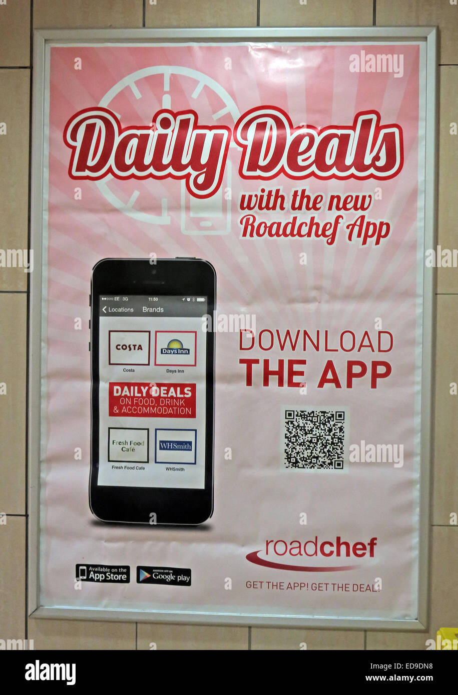 Daily Deals with the Roadchef App - Motorway Service Station, UK GB - Stock Image