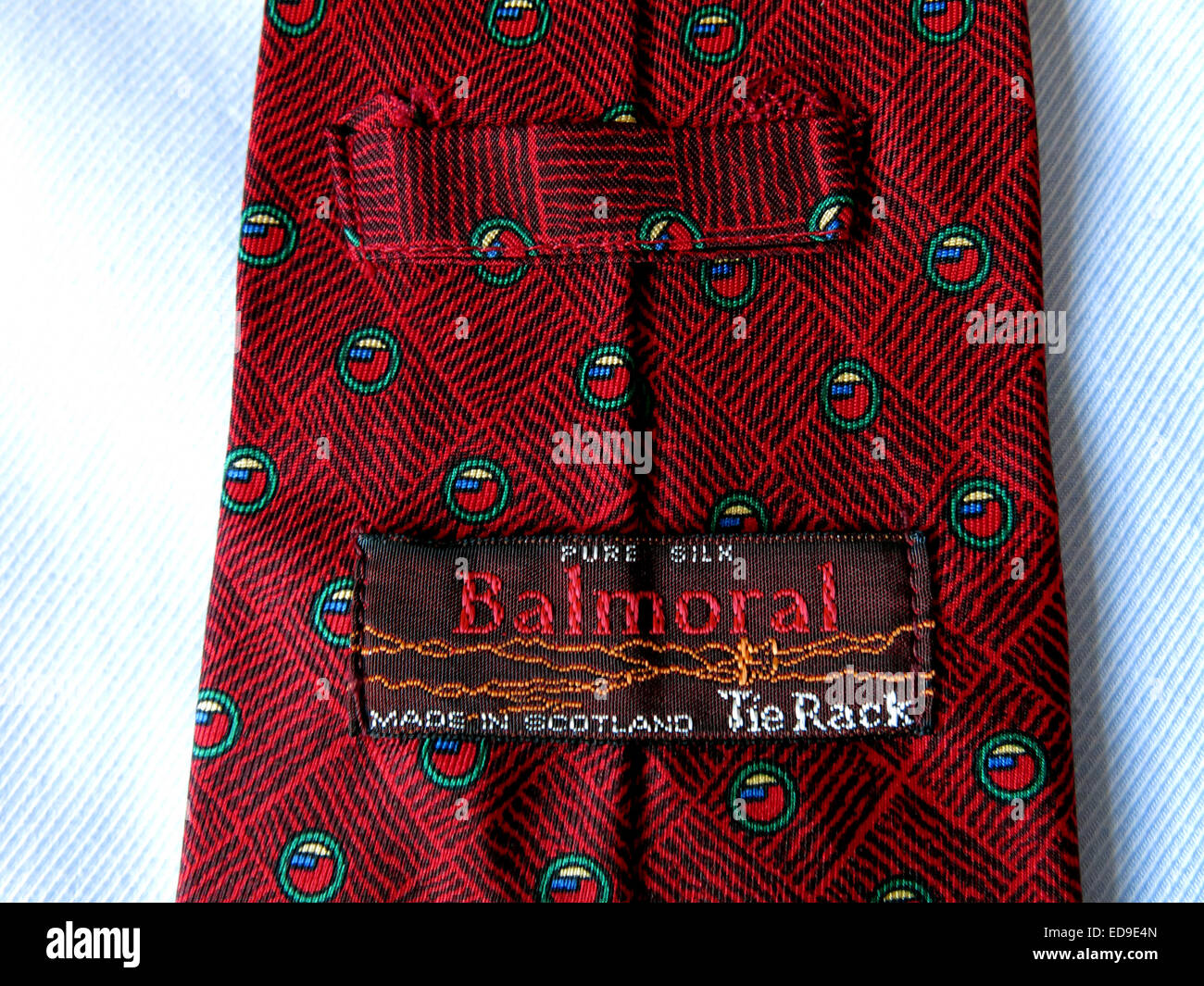 Interesting vintage Tie rack Balmoral Scotland tie, male neckware in silk Stock Photo