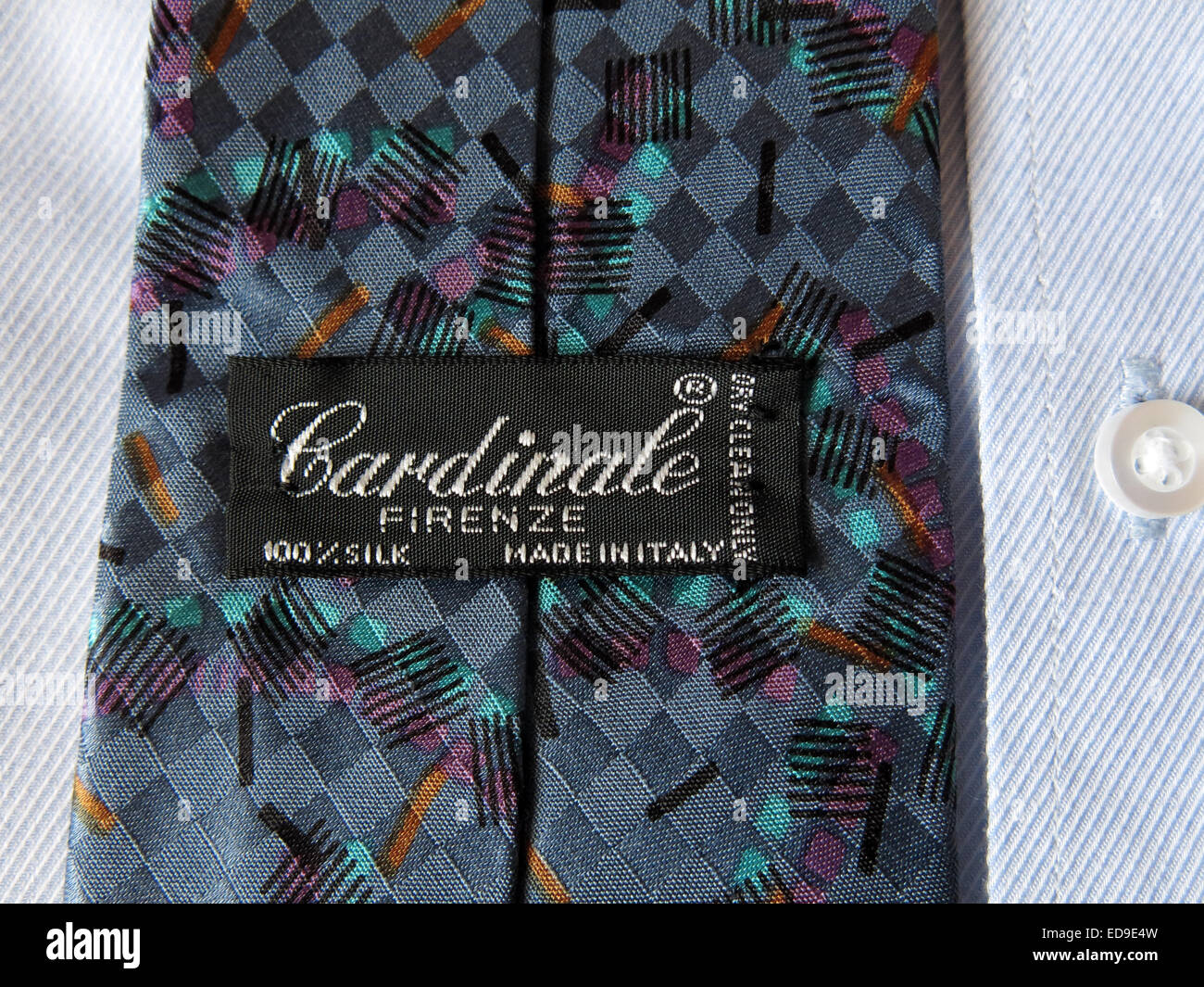 Interesting vintage Cardinale Firenze tie, male neckware in silk - Stock Image