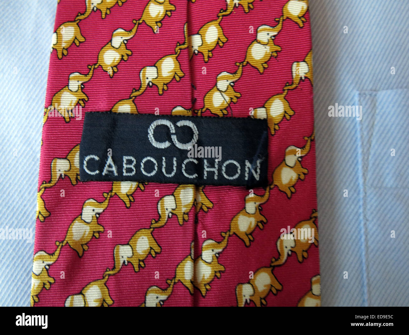 Interesting elephant Carbouchon vintage tie, male neckware in silk - Stock Image