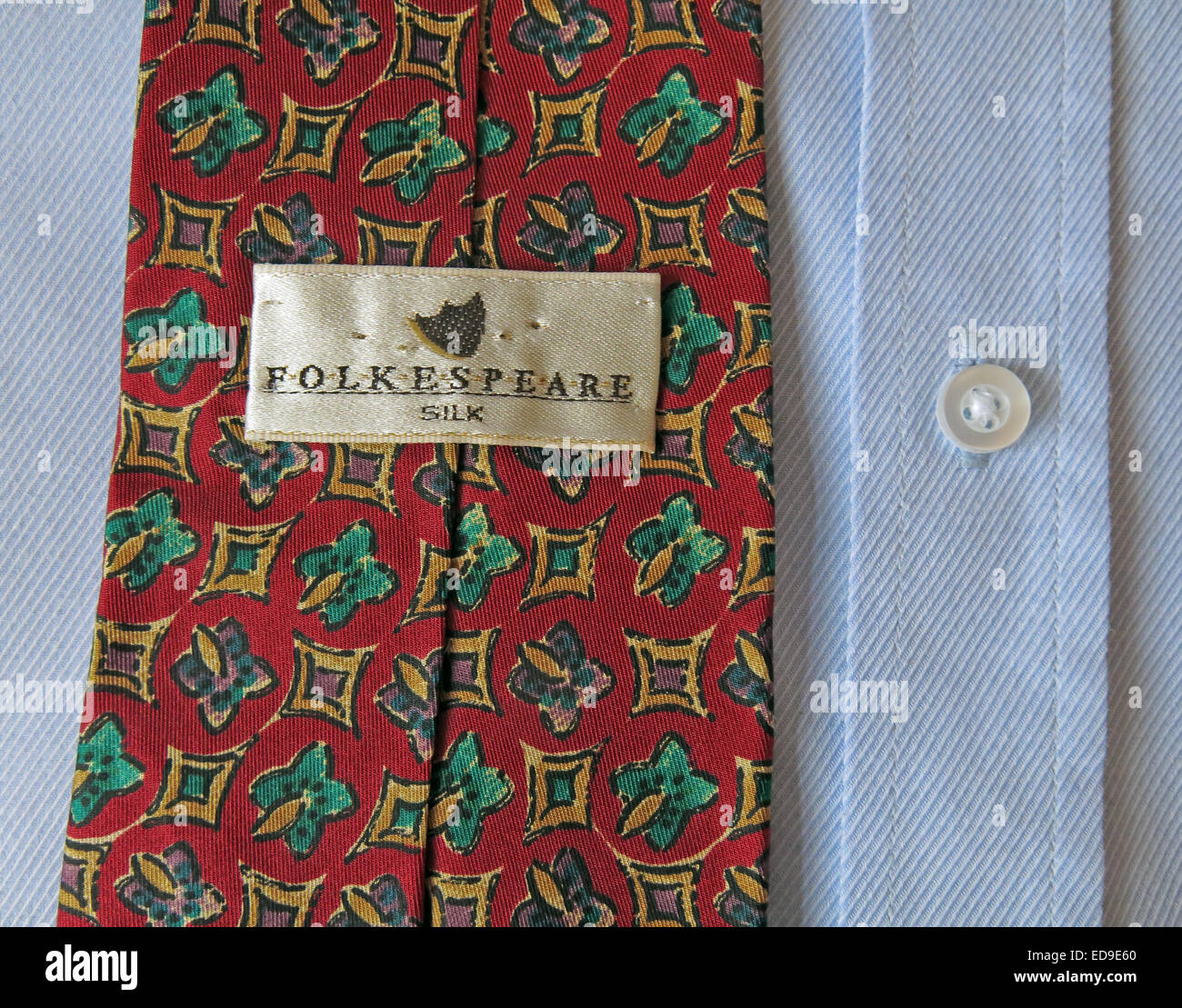Interesting vintage Folkspeare tie, male neckware in silk - Stock Image