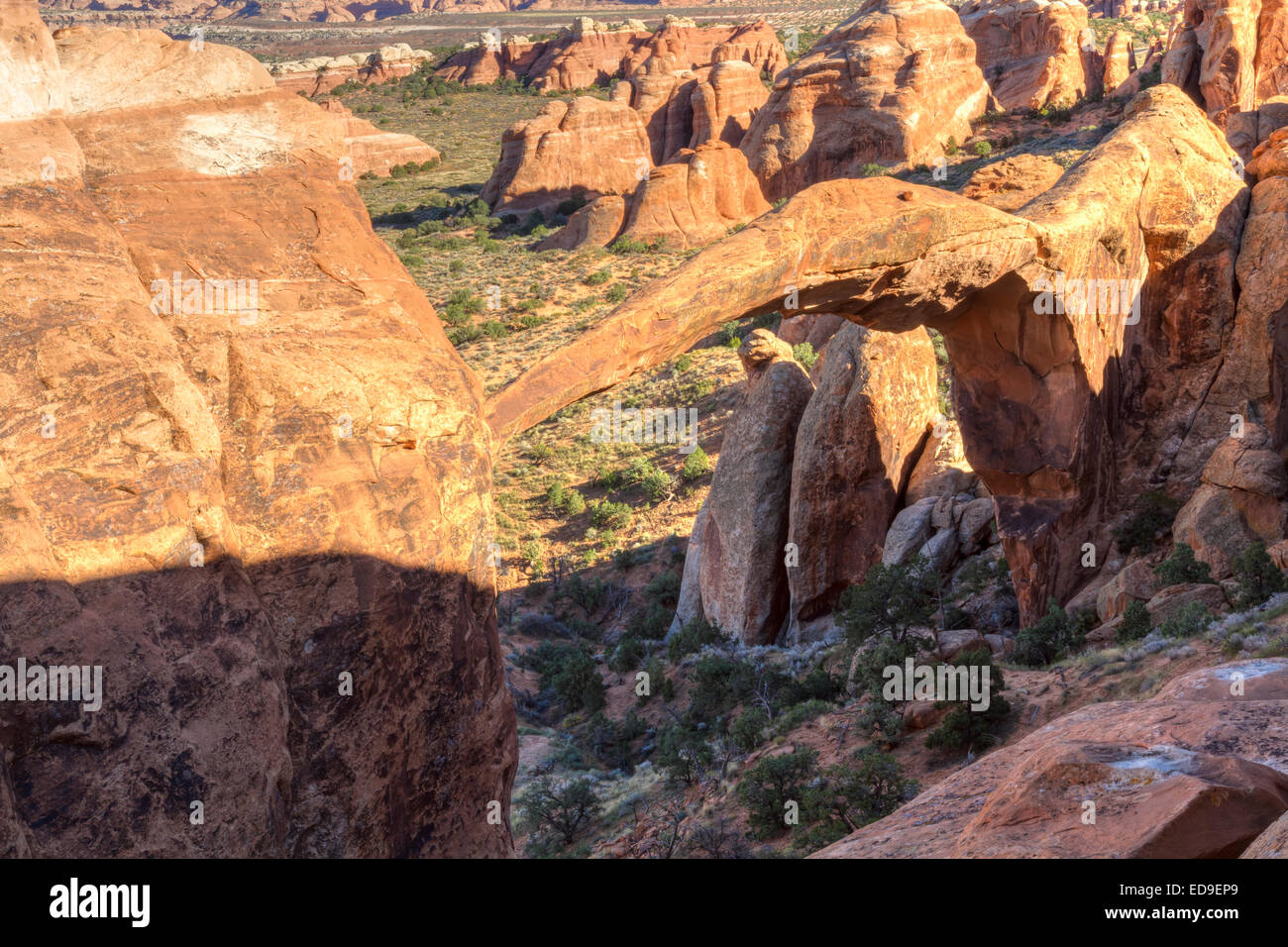 An unusual reverse view of iconic Landscape Arch in the Devil's Garden section of Arches National Park in Moab - Stock Image