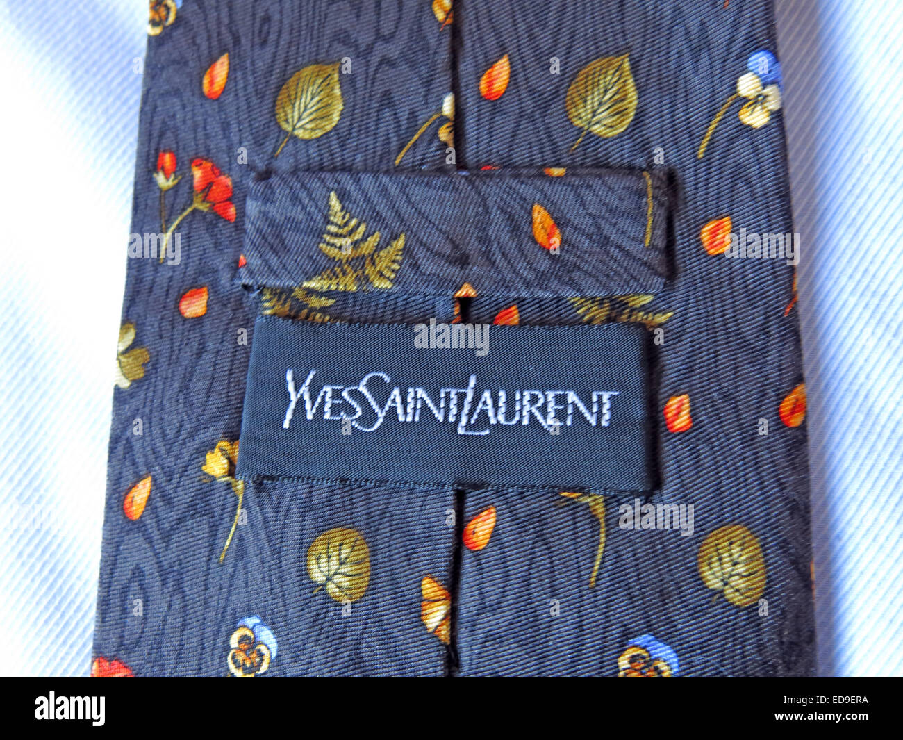 Interesting YSL Yves Saint Laurent vintage tie, male neckware in silk - Stock Image