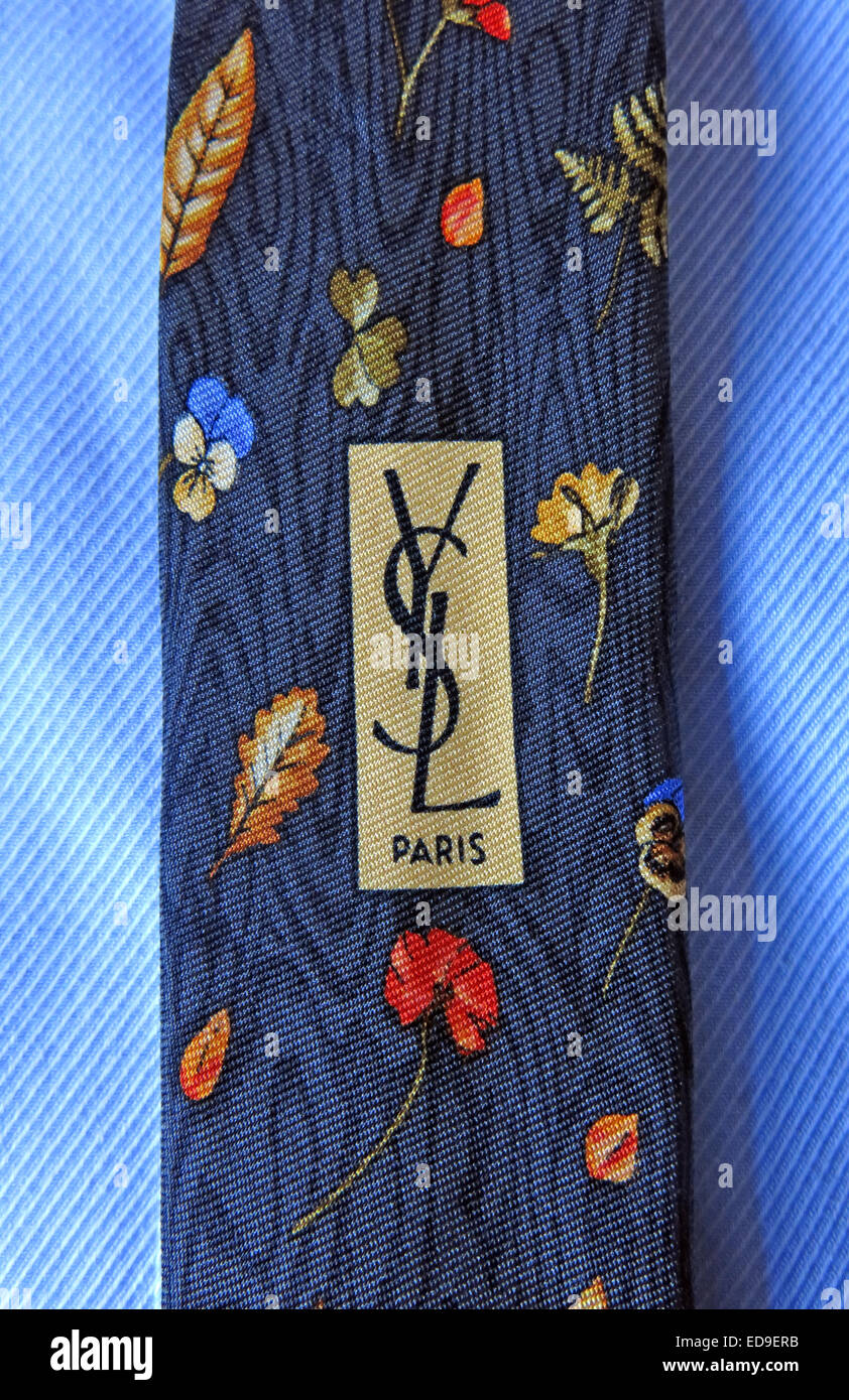 Interesting YSL Paris vintage tie, male neckware in silk - Stock Image