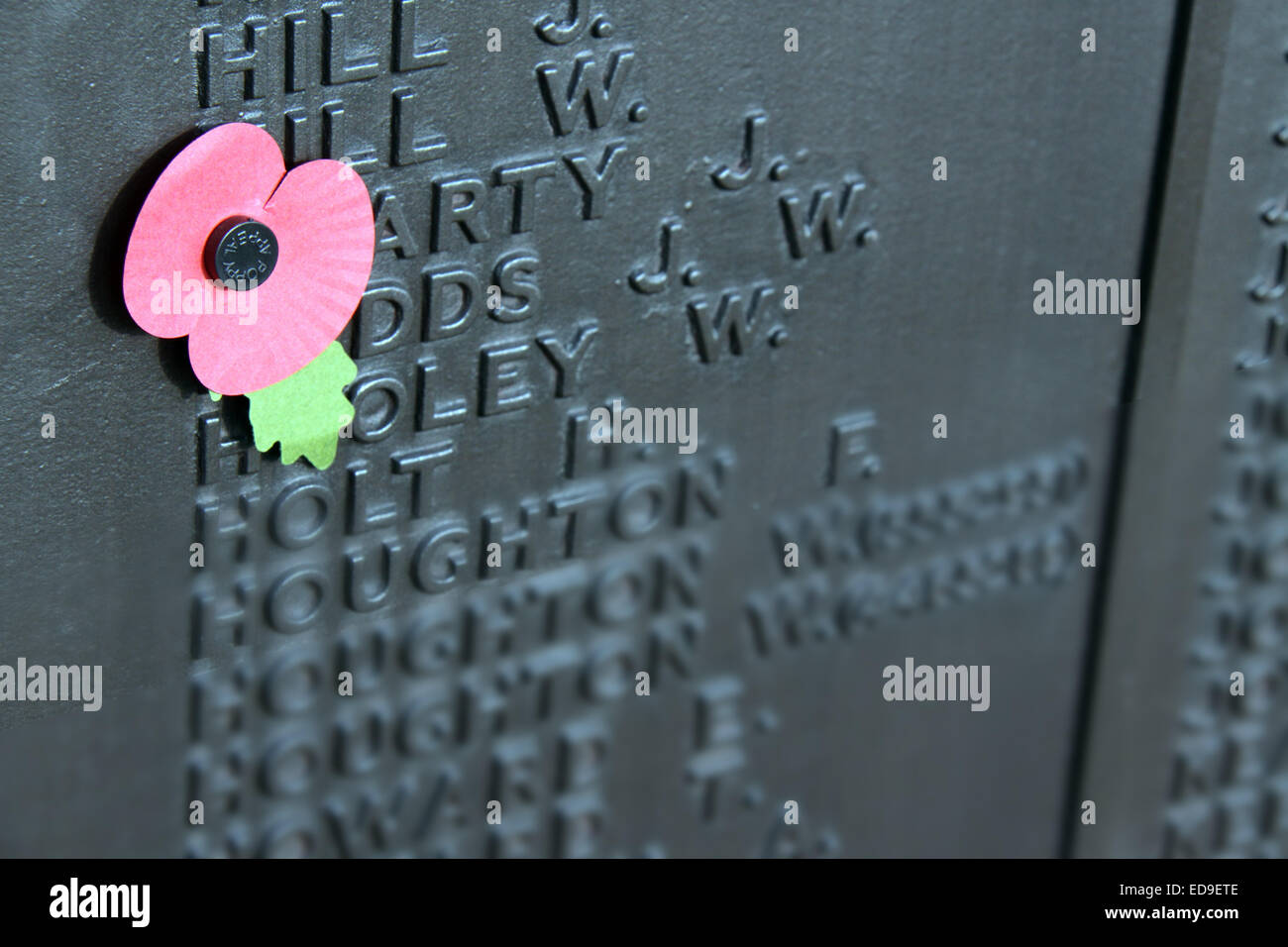Remembrance day Single Poppy Warrington Cenotaph Nov 2014, Bridgefoot, Wilderspool Causeway, Cheshire, England, - Stock Image