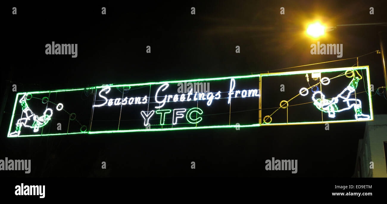 Christmas Lights in Yeovil Town at night, Somerset, UK - Stock Image