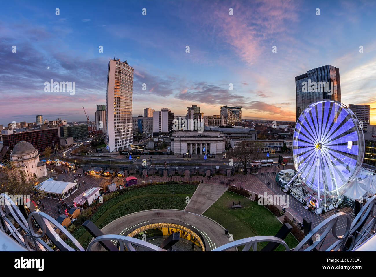 Fisheye view from Birmingham's new library, looking out across the tail end of the German market. Stock Photo