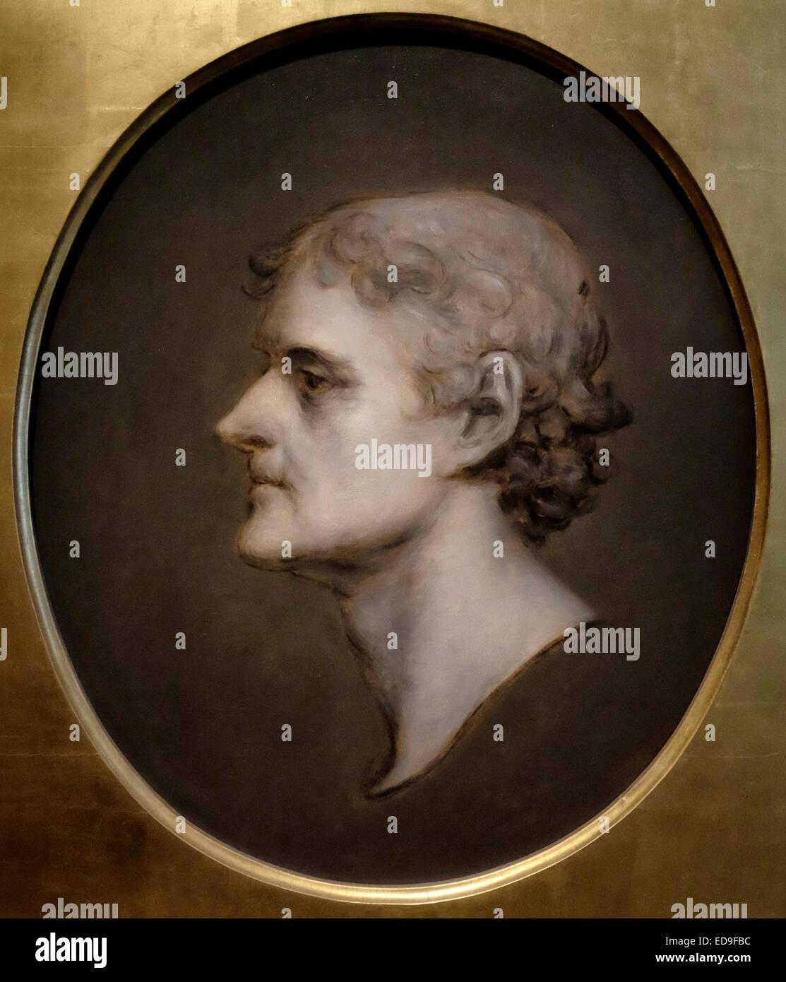 f9fc739fdaa1 President Thomas Jefferson profile portrait - Charles Bird King after  Gilbert Stuart 1836