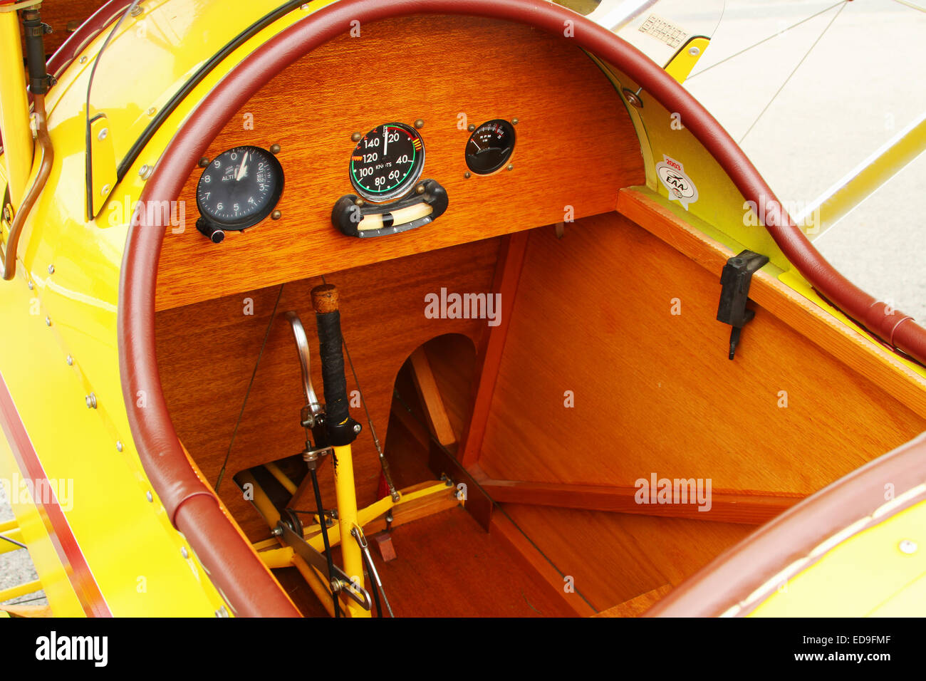 Cockpit and instrumentation in a Pietenpol Air Camper. Yellow Airplane. Possibly custom built experimental or a - Stock Image