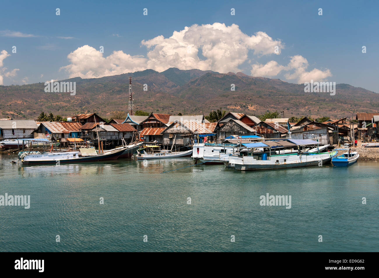 Wuring fishing village near Maumere on Flores island, Indonesia. Stock Photo
