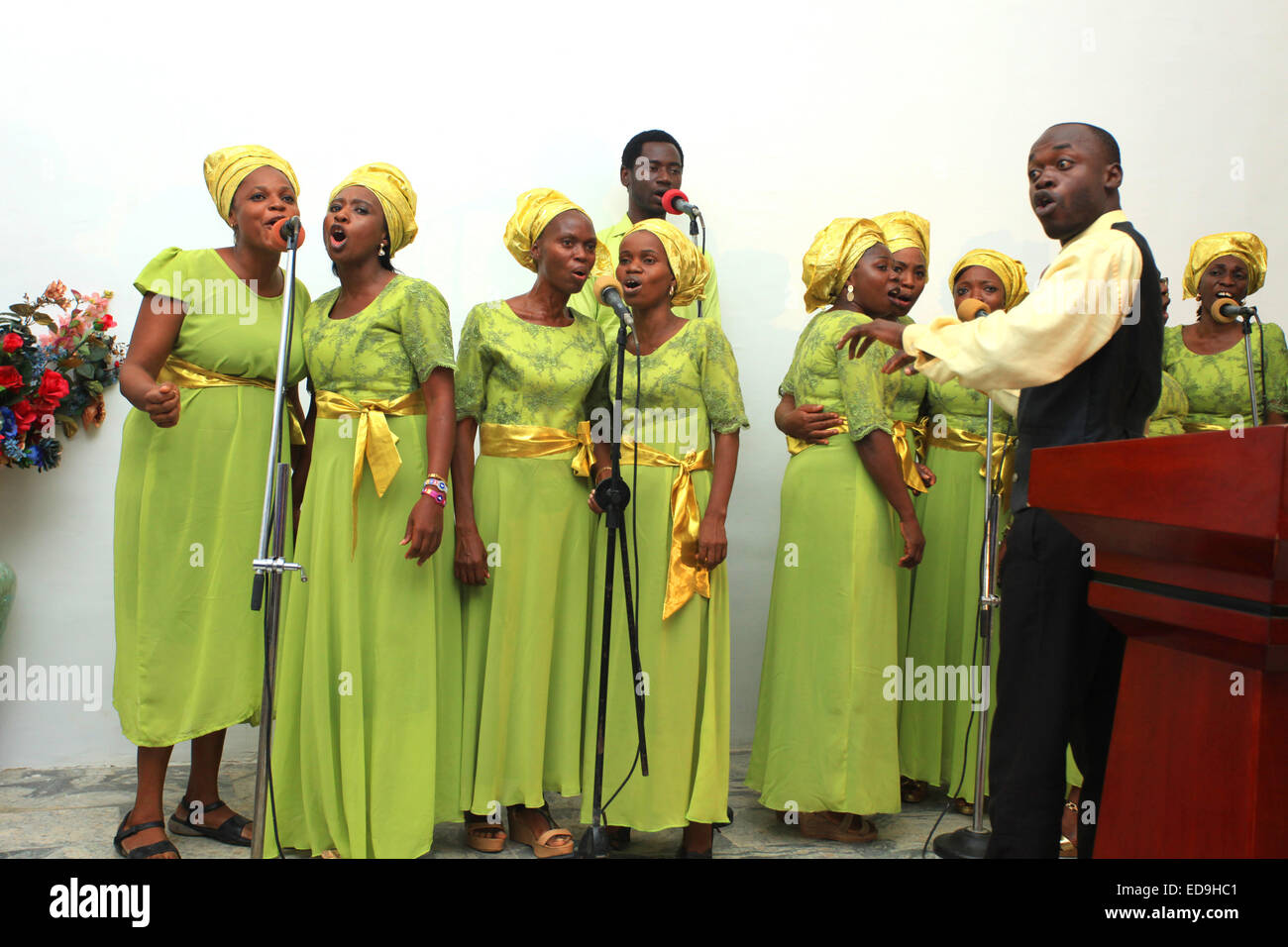 Choir Members of a pentecostal church giving a rendition during service in Lagos, Nigeria - Stock Image