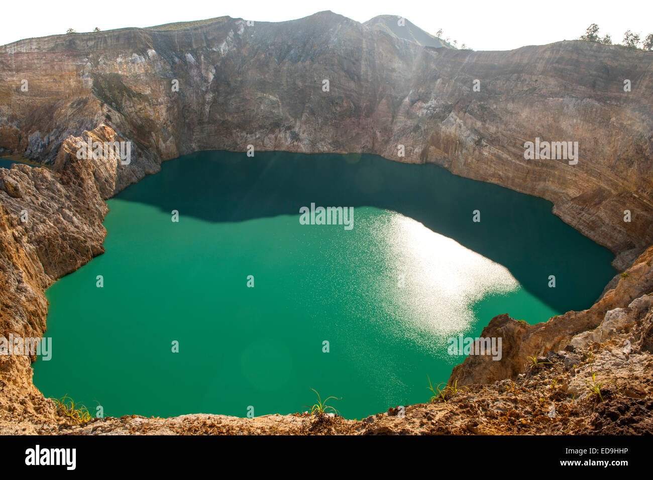 Tiwu Ata Polo ('Bewitched or Enchanted Lake') one of three crater lakes on the summit of Mount Kelimutu - Stock Image