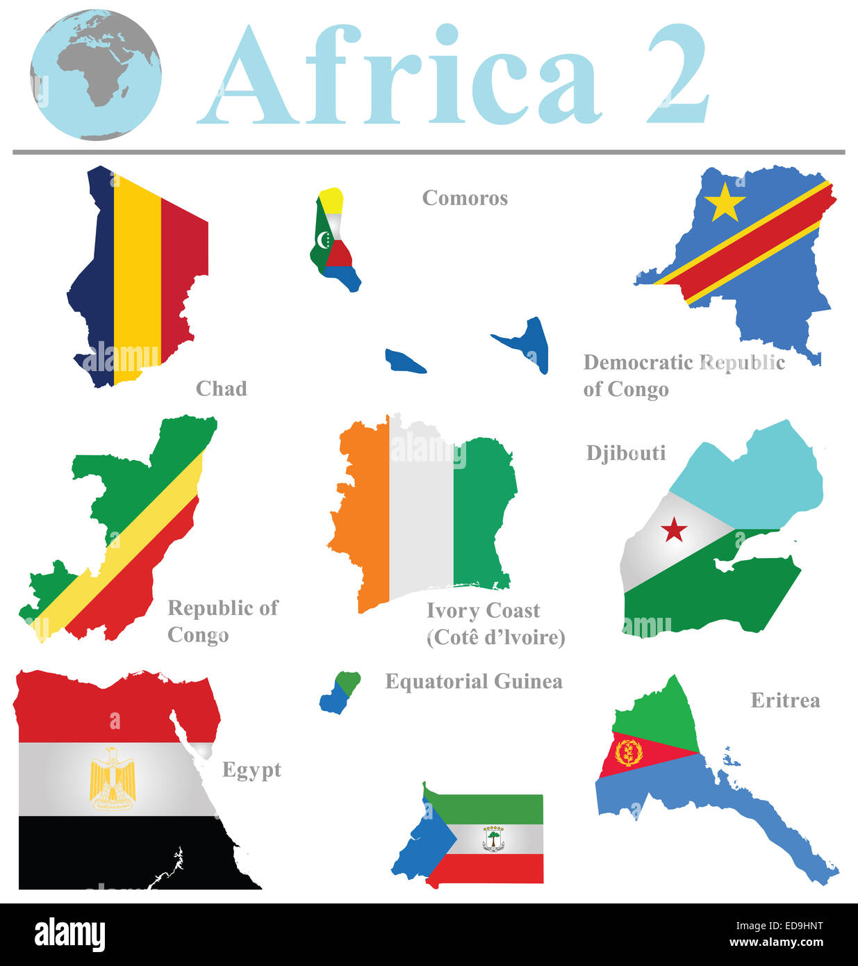 Flags of Africa collection 2 overlaid on outline map isolated on white background - Stock Image