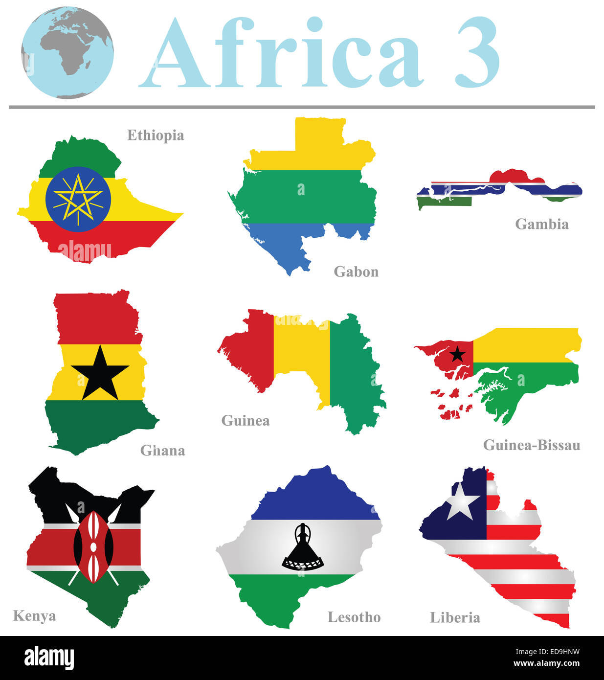 Flags of Africa collection 3 overlaid on outline map isolated on white background - Stock Image