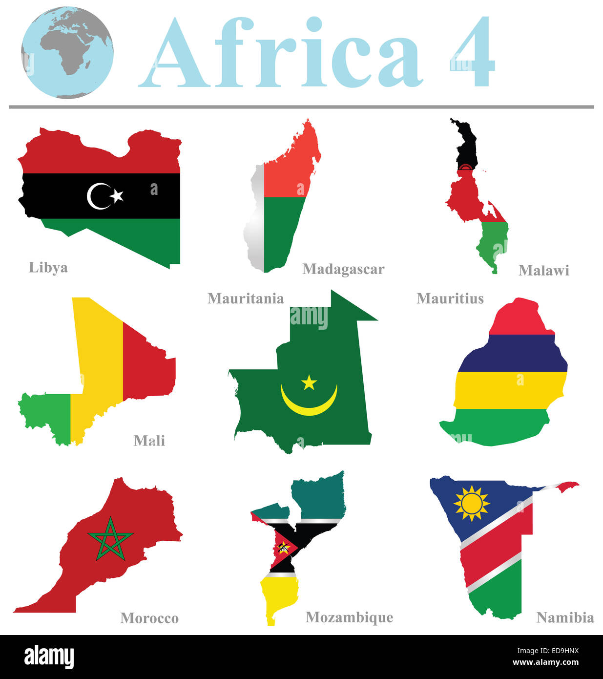 Flags of Africa collection 4 overlaid on outline map isolated on white background - Stock Image