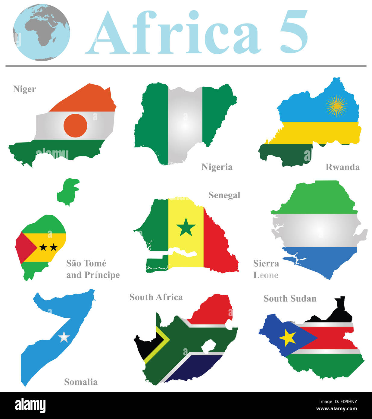 Flags of Africa collection 5 overlaid on outline map isolated on white background - Stock Image
