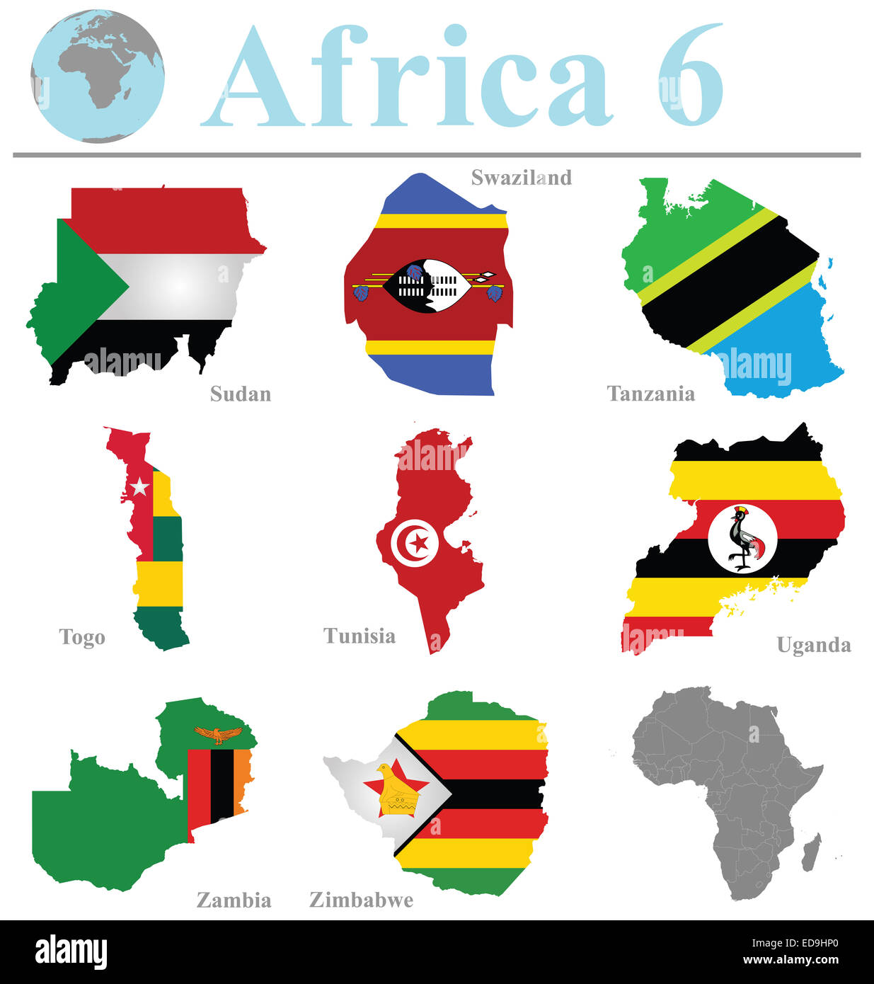 Flags of Africa collection 6 overlaid on outline map isolated on white background - Stock Image