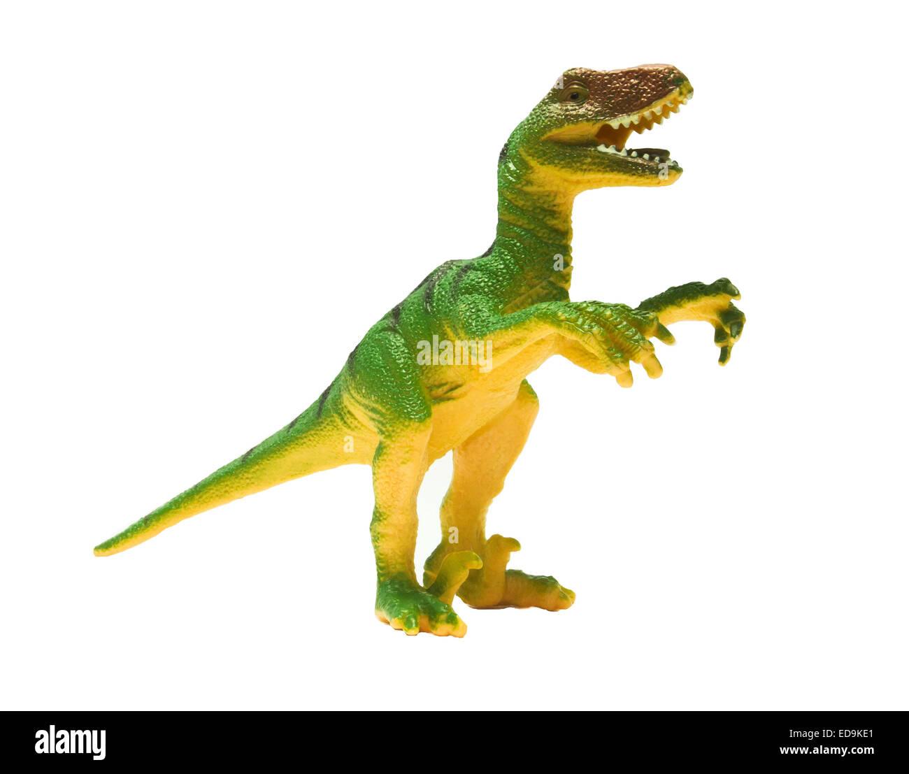 Toy dinosaur isolated on a white background - Stock Image