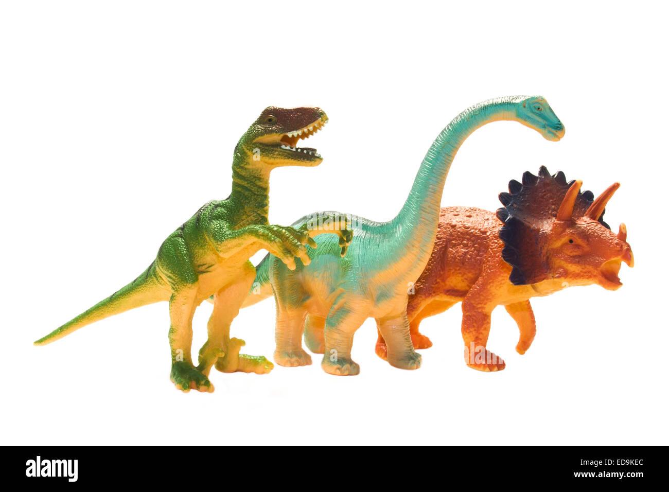 Dinosaur Figures on a white background isolated - Stock Image