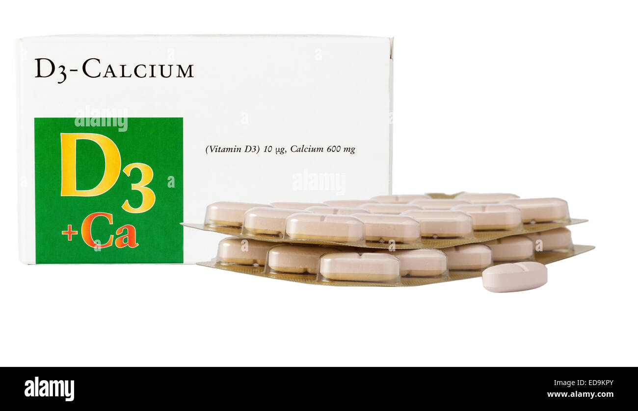 Calcium and vitamin d tablets - Stock Image