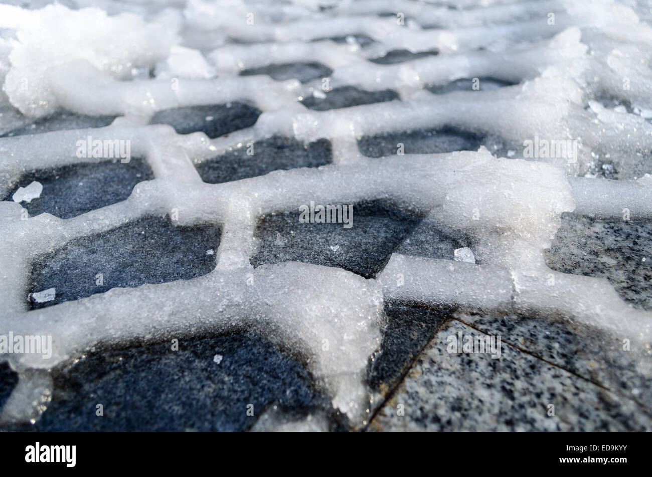 Close up of tire track in snow and ice ground Stock Photo