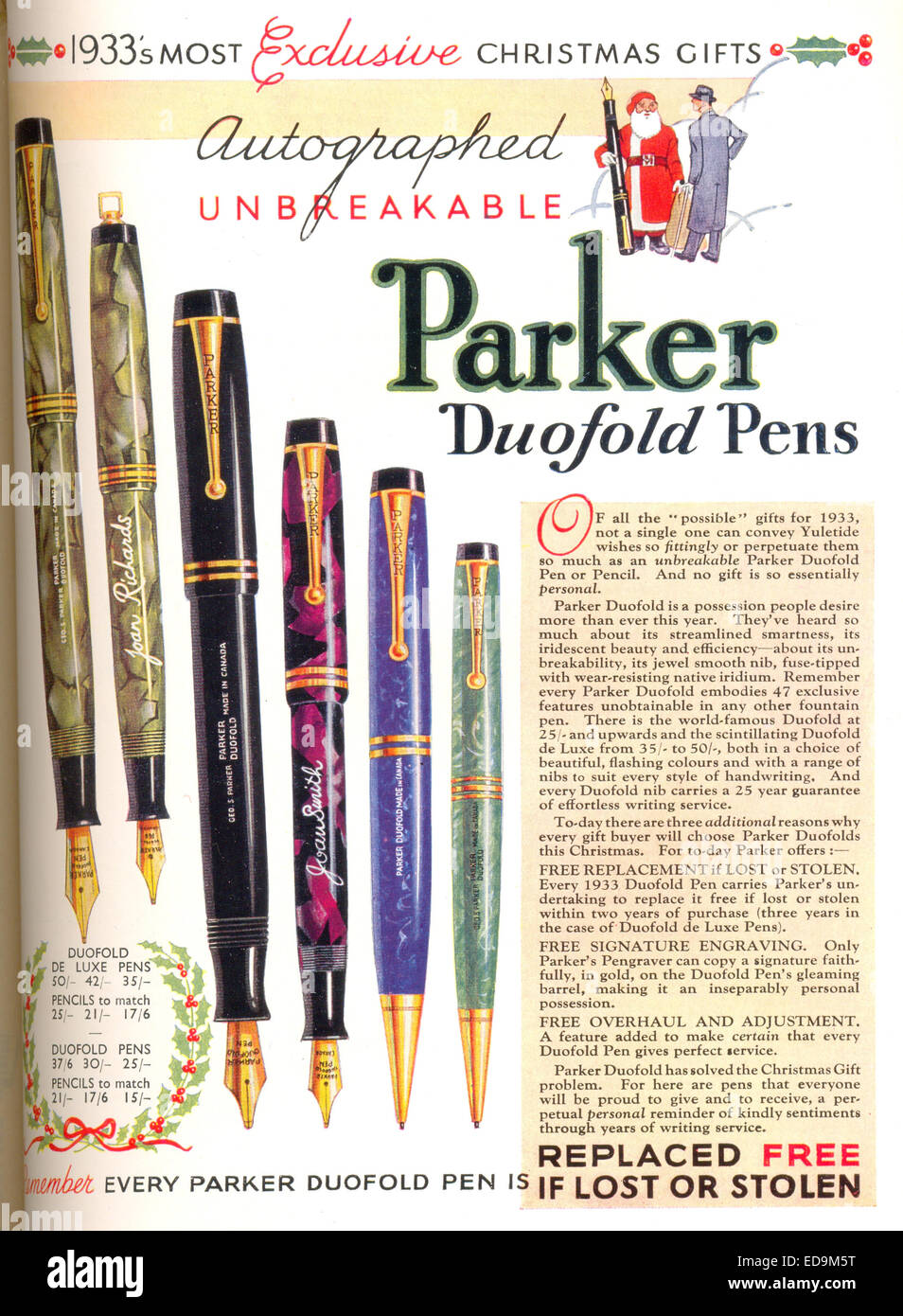 Advertisement for Parker Duofold Pens Stock Photo