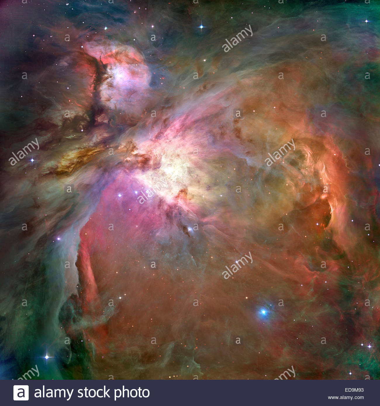 M42, NGC 1976, Emission Nebula in Orion. Credit: Original image by ESA/NASA, processing & colouring raw data - Stock Image