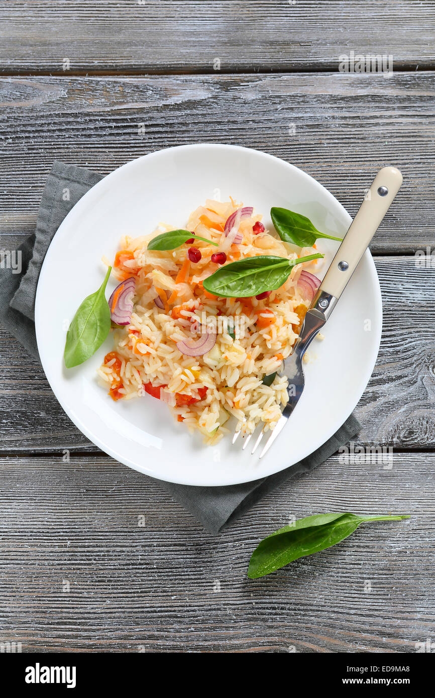 Tasty rice with vegetables, food - Stock Image