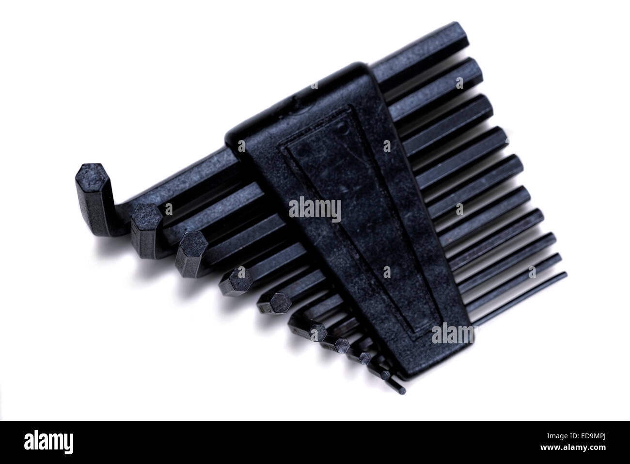 Hex wrench key set in holder. Ends turned towards viewer. - Stock Image