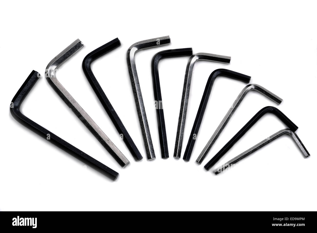 Collection of hex wrench keys in matt black and chrome. - Stock Image