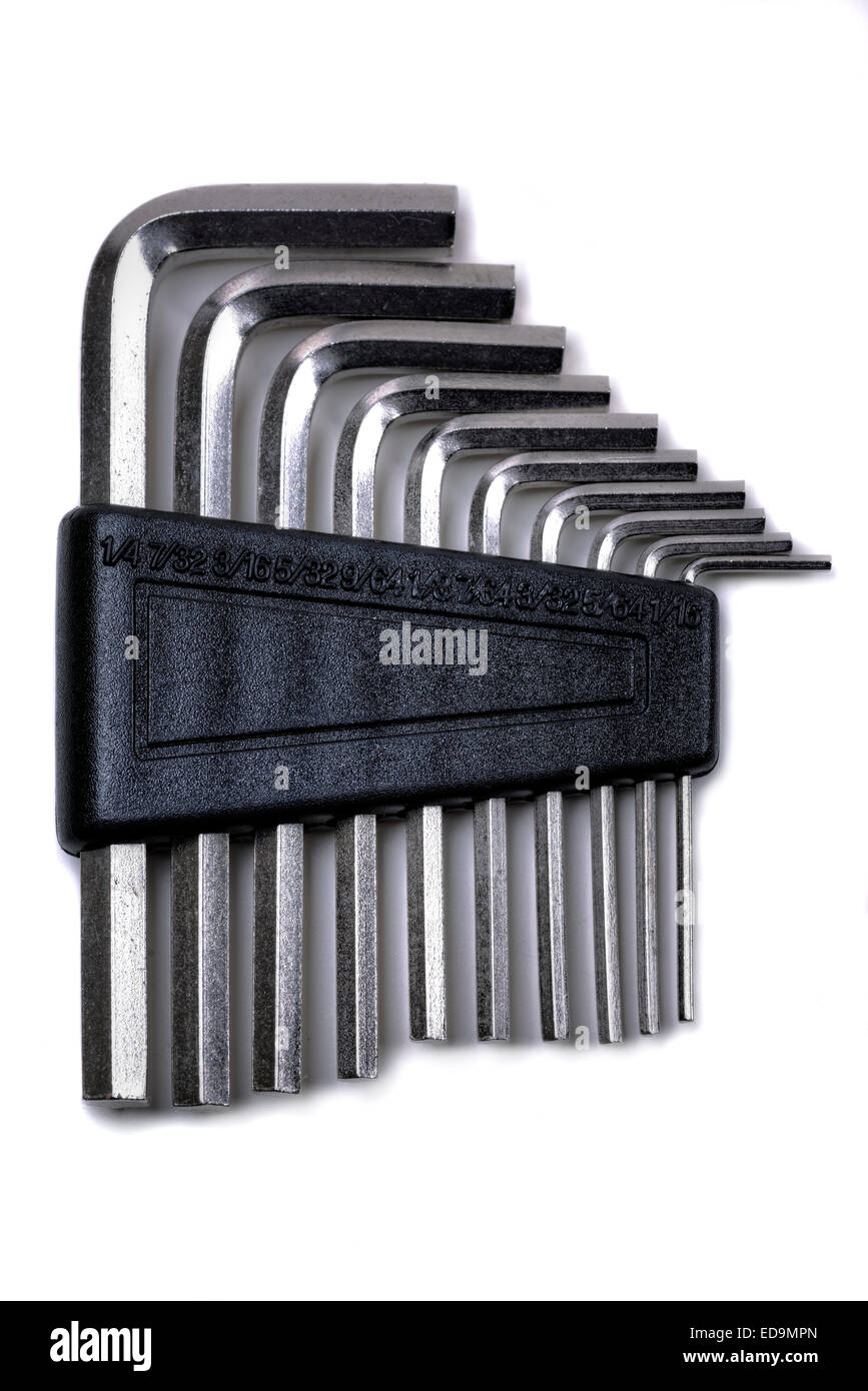 Hex wrench key set in chrome finish, in a holder. - Stock Image