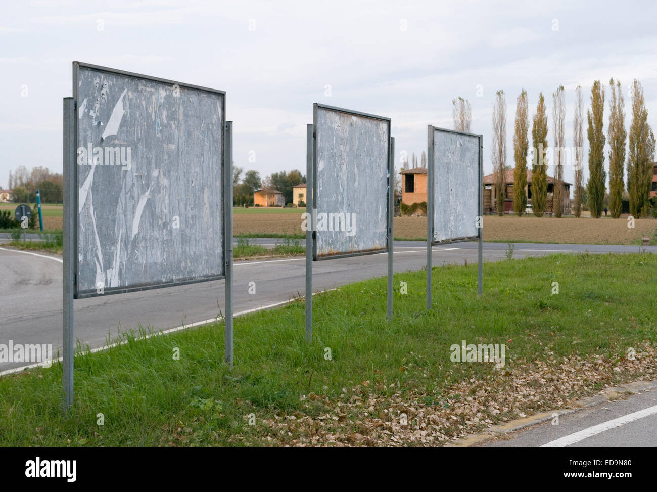 Billboards on roadside, Emilia Romagna, Italy - Stock Image