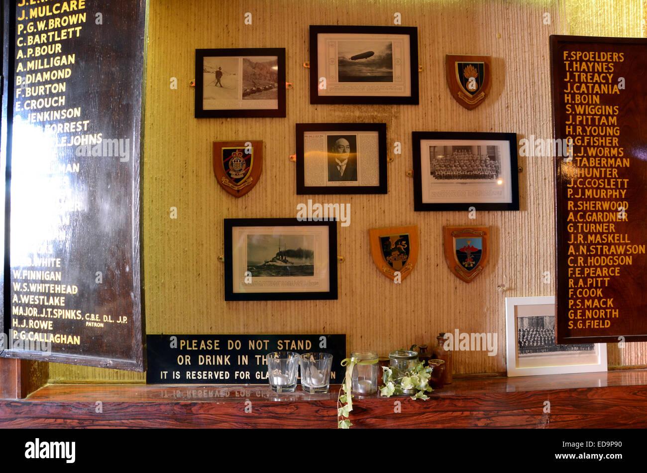 earl haig hall london n8 trendy bar cafe hipsters crouch end ex-british legion social club pub plaques soldiers Stock Photo