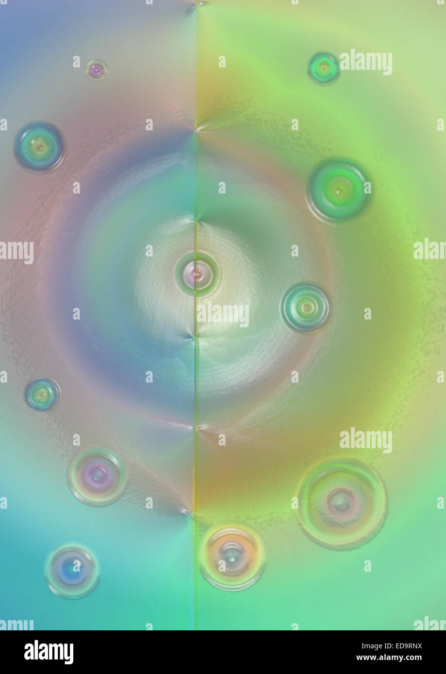 Bright vitreous background with colored circles - Stock Image
