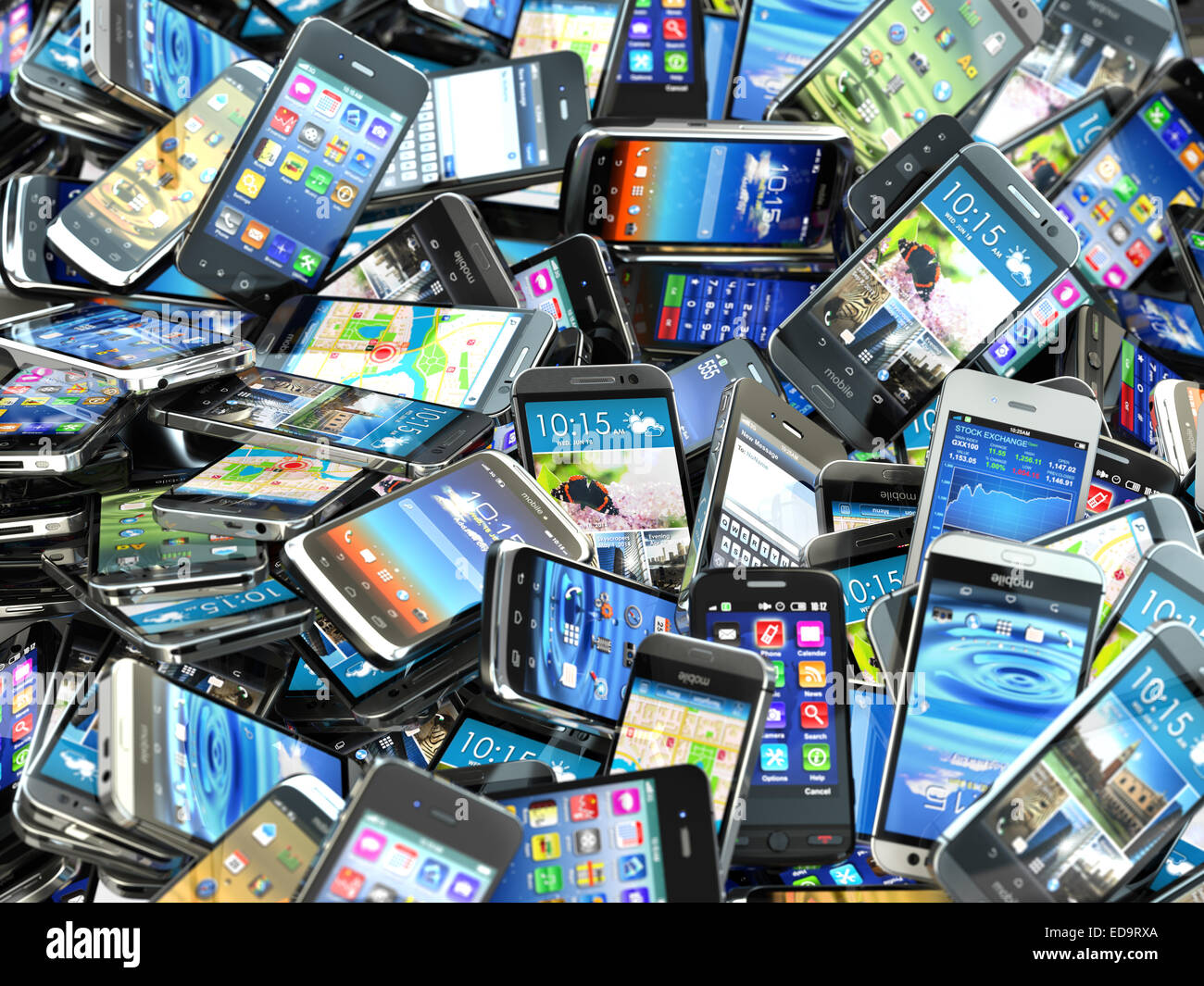 Pile Of Cell Phones : Mobile phones background pile of different modern