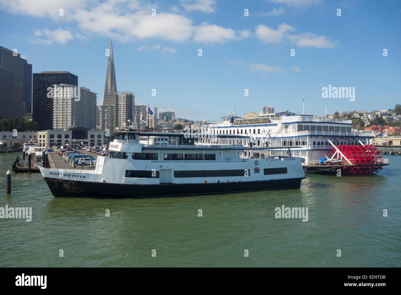 Alcatraz flyer tour boat cruises in San Francisco CA - Stock Image