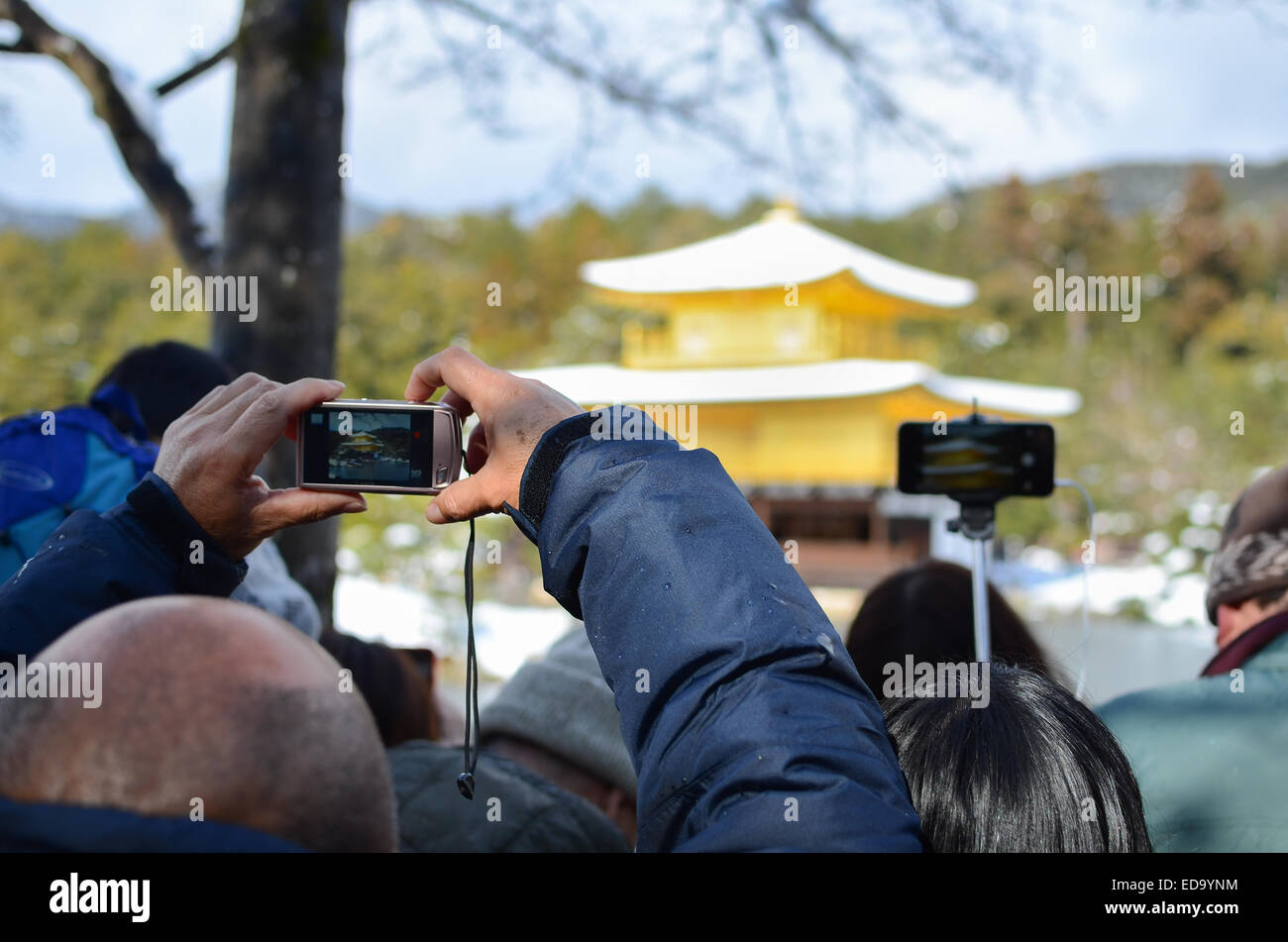 Tourists at Kinkakuji (Golden Temple / Golden Pavilion) in Kyoto, Japan. - Stock Image